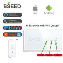 BSEED Wi-Fi, сенсорные выключатели 1/2/3 с интеллигентая (ый) стены занавес затвора шторки Стекло Smart Google Alexa переключатели приложение Управление