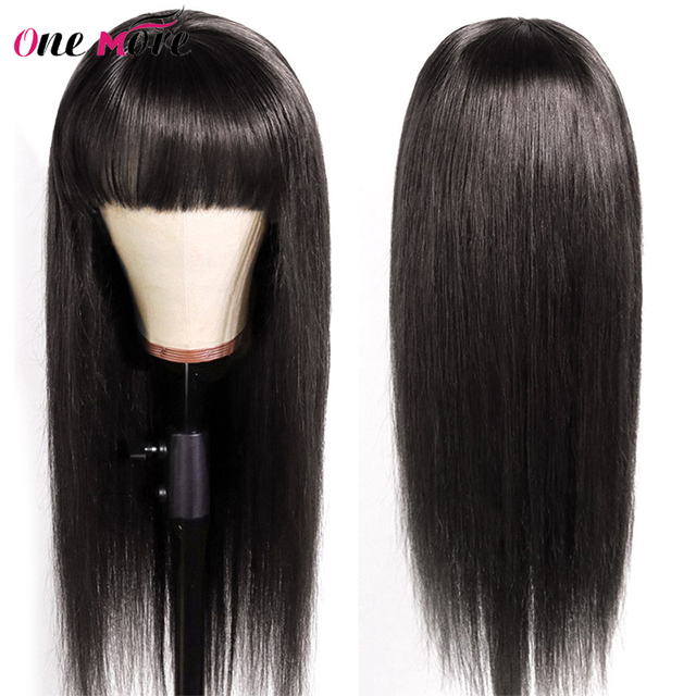 Straight Human Hair Wigs With Bangs Full Machine Made 99j Burgundy Colored Human Hair Wigs For Black Women Brazilian Remy Hair