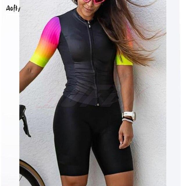 Respirável mulheres jumpsuit Triathlon skinsuit ciclismo roupas de ciclismo ciclismo skinsuit manga curta sportswear ao ar livre das mulheres 1