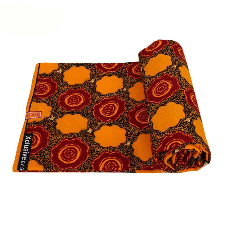 Veritable Guarantee Real Dutch Wax Orange Flowers Print Fabric Pagne Wax 6Yards\lot