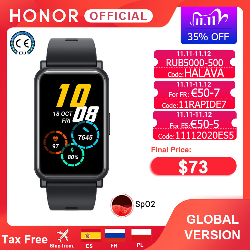 Global Version Honor Watch ES Smart Watch SpO2 Smartwatch Heart Rate Monitoring  5ATM 1 64   AMOLED Fashion and Sports for Women