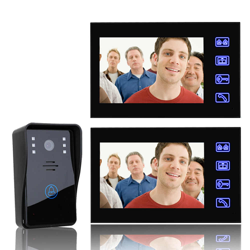 7 Cal wideo telefon drzwi intercom Kit 1-camera 2-monitor Night Vision z IR-CUT 1000TVL kamery