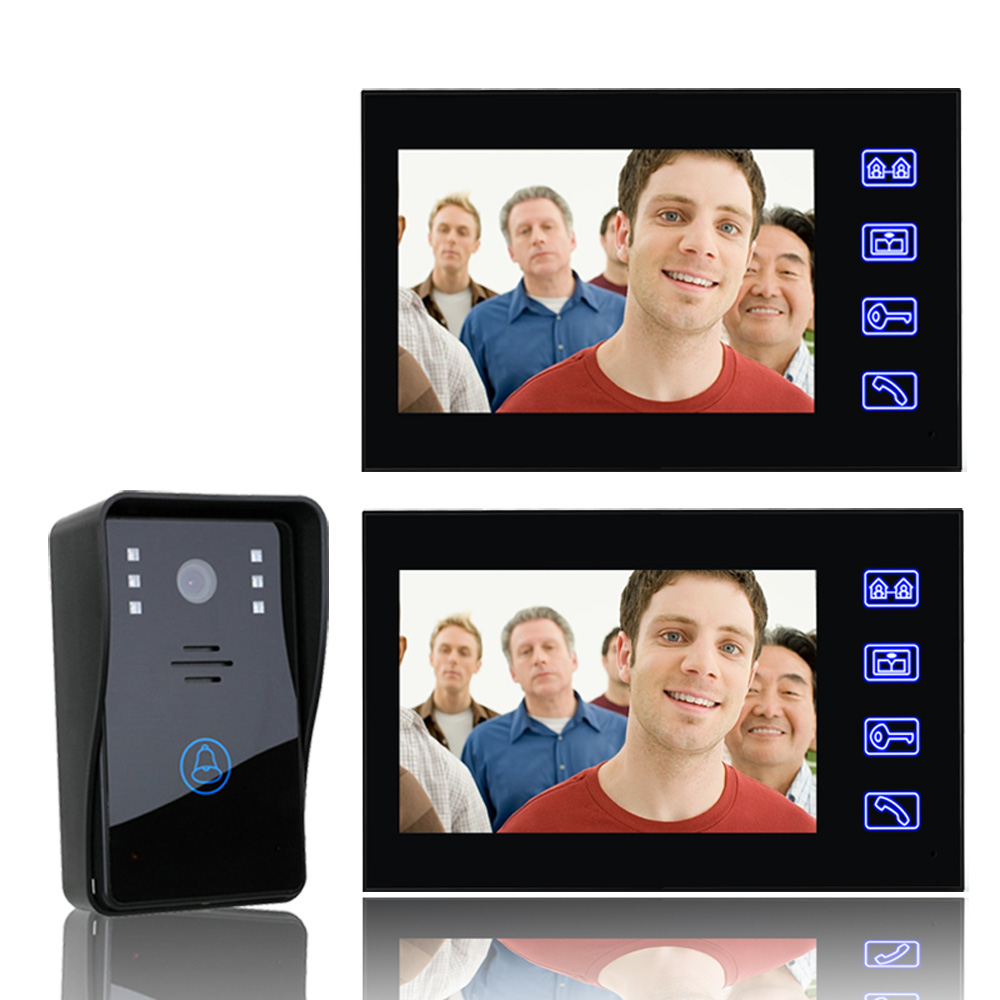 7 Inch Video Door Phone Doorbell Intercom Kit 1-camera 2-monitor Night Vision With IR-CUT 1000TVL Camera