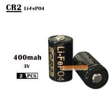 2 шт./партия 400mAh CR2 батарея 3v LiFePO4 аккумуляторная батарея 15266 CR2 батарея с батареей защитная коробка