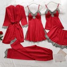 5PC Silk Robe Schlaf Anzug Frauen Spitze Satin Pyjamas Kleid Set V-ausschnitt Cami Nachthemden Tragen Pijama Hause Nachtwäsche Frühjahr nachthemd