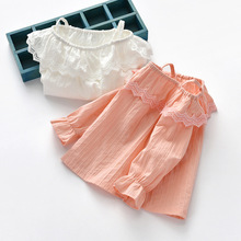 Summer Girl Long Sleeve Female Baby Solid Color Trumpet Sleeve Top Sling Long Sleeve Children Clothing Tide Fashion Little Girl flounce sleeve solid top