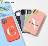 Nome lettere maiuscole personalizzate per iphone 11 12 Pro Max custodia per telefono per X XS XR 7 8 Plus 6 6S Cover in Silicone Logo fai da te Picture Design
