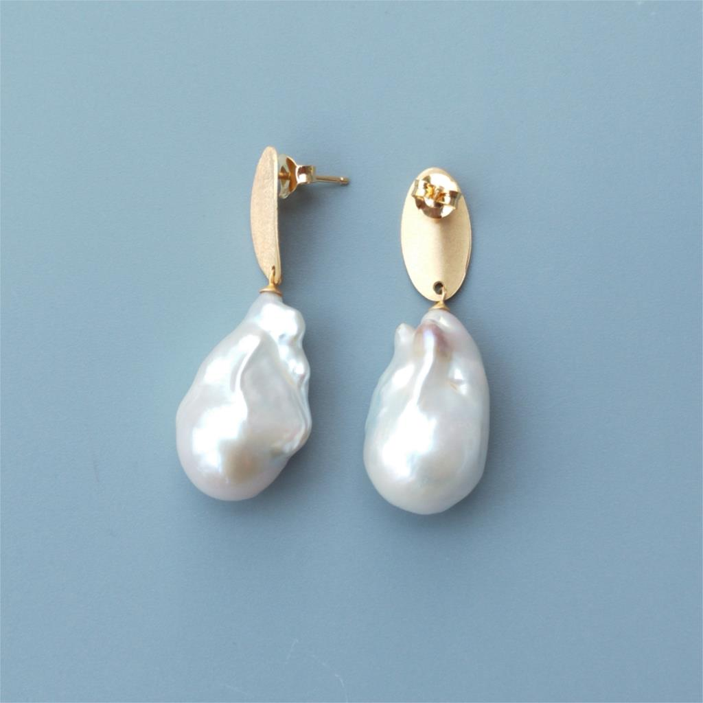 LiiJi Unique High Quality Big White Baroque Pearl Stud Earrings 925 Sterling Silver Gold Color Delicate Women Elegant Jewelry - 3