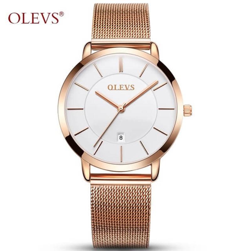 OLEVS Ultra-thin Ladies Watch Brand Luxury Women Watches Waterproof Rose Gold Stainless Steel Quartz Wrist Watch Montre Femme