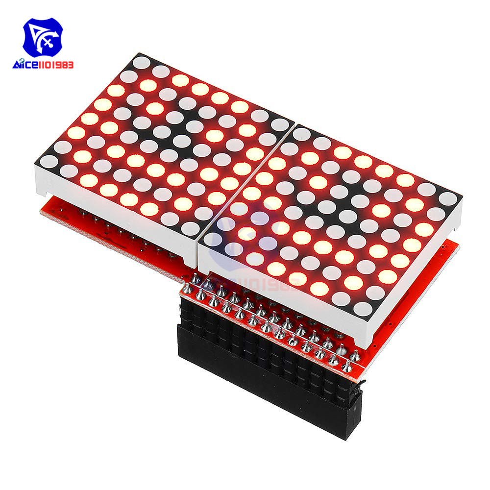 Diymore 8x16 MAX7219 LED Dot Matrix Screen Common Cathode Module With Driver Shield For Arduino Raspberry Pi B/B+
