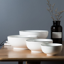 Simple Tableware 7-Inch Ceramic Bowl Noodle Restaurant Diamond Bowl Salad Bowl Rice Bowl Household Large Size Bowl European Styl