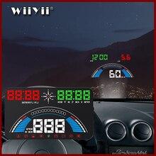 """5.8 """"araba styling S7 HUD GPS kilometre OBD2 araba Head Up Display araç hız uyarı yakıt tüketimi su sıcaklığı RPM"""