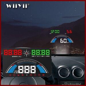 """Image 1 - 5.8 """"voiture style S7 HUD GPS compteur de vitesse OBD2 voiture tête haute affichage véhicule excès de vitesse avertissement consommation de carburant température de leau tr/min"""