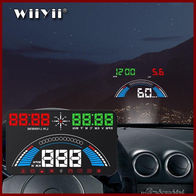 """5.8 """"voiture style S7 HUD GPS compteur de vitesse OBD2 voiture tête haute affichage véhicule excès de vitesse avertissement consommation de carburant température de leau tr/min"""