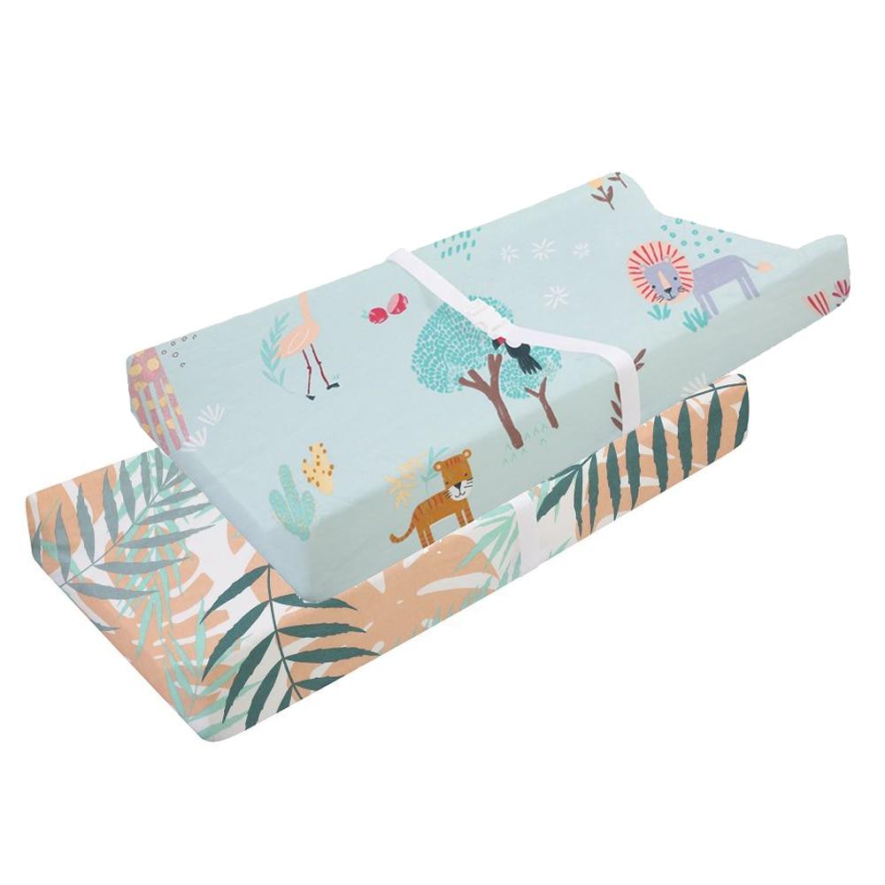 Эластичный чехол для пеленального столика-2 шт. в упаковке, эластичный чехол для пеленального столика для мальчиков и девочек, 89*44 см, простыня для кроватки - Цвет: CLS0047-4-1