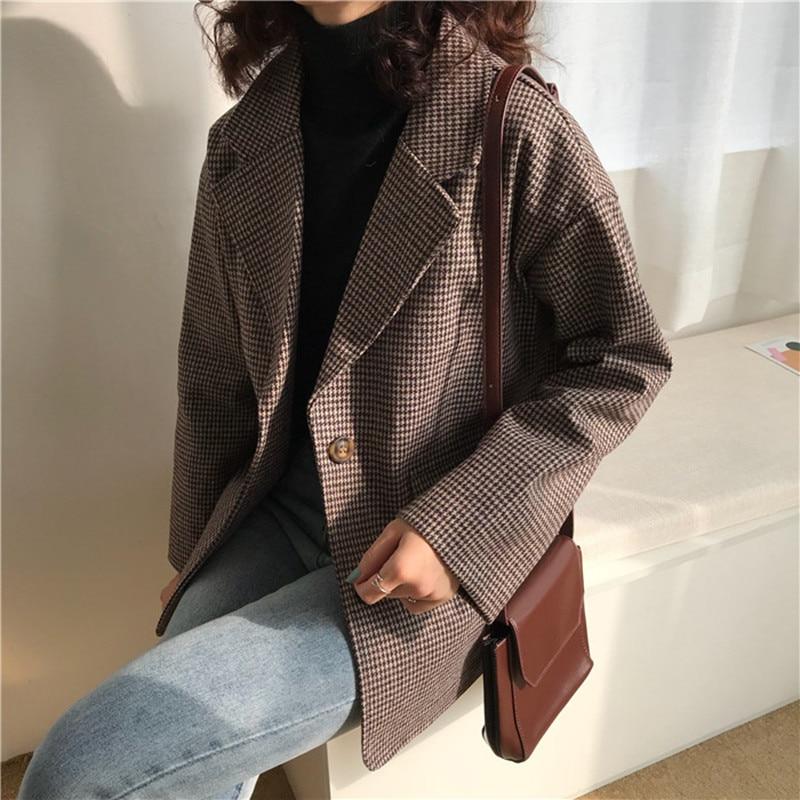 2020 Vintage Plaid Spring Blazer Mujer Single Breasted Ladies Office Casual Blazer Jacket Pockets Autumn Korean Blazer Women