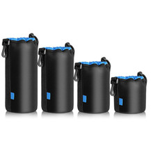 (4 Pack) Photo Thick Protective Neoprene Pouch Set for DSLR Camera Lens Camera Bag Backpack