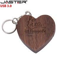 JASTER USB 3.0 chiavetta a cuore in legno Pendrive 128GB 64GB 32GB 16GB 8GB 4GB U Memory Stick fotografia regali di nozze