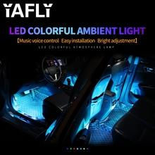 YAFLY רכב RGB LED רצועת אור LED רצועת אורות צבעים רכב סטיילינג דקורטיבי אווירת מנורות מכונית פנים אור עם מרחוק 12V