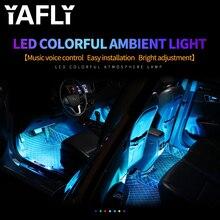 YAFLY bande lumineuse pour intérieur de voiture, rvb, LED, rampe déclairage à LED, LED, éclairage dambiance, décoratif, avec télécommande, 12V