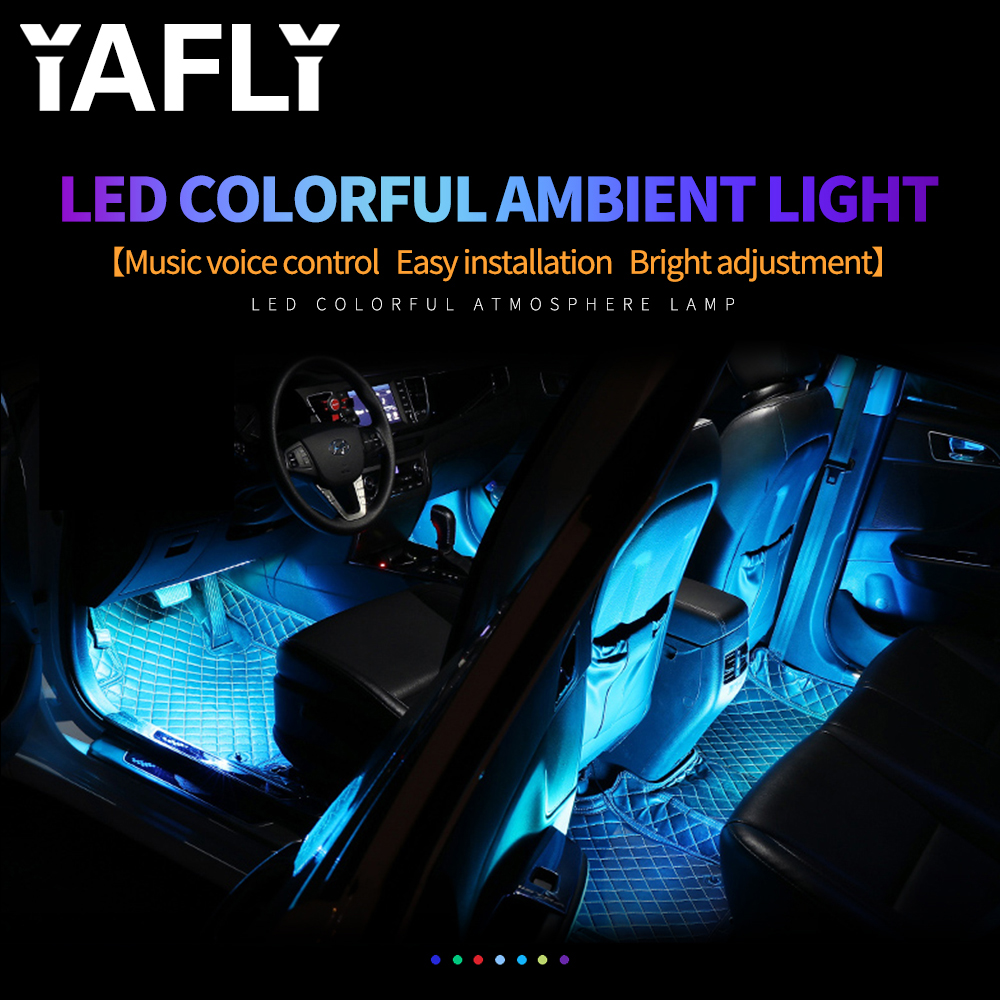 YAFLY <font><b>Car</b></font> <font><b>RGB</b></font> <font><b>LED</b></font> <font><b>Strip</b></font> <font><b>Light</b></font> <font><b>LED</b></font> <font><b>Strip</b></font> <font><b>Lights</b></font> Colors <font><b>Car</b></font> Styling Decorative Atmosphere Lamps <font><b>Car</b></font> Interior <font><b>Light</b></font> With Remote 12V image