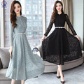 Кружевное платье с длинным рукавом, Новинка весна-осень 2021, Женская темпераментная юбка средней длины, длинная юбка с зауженной талией