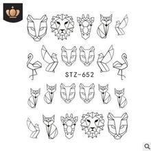 Черный мультфильм животных фламинго лиса полый дизайн ползунки накладные ногти DIY маникюр