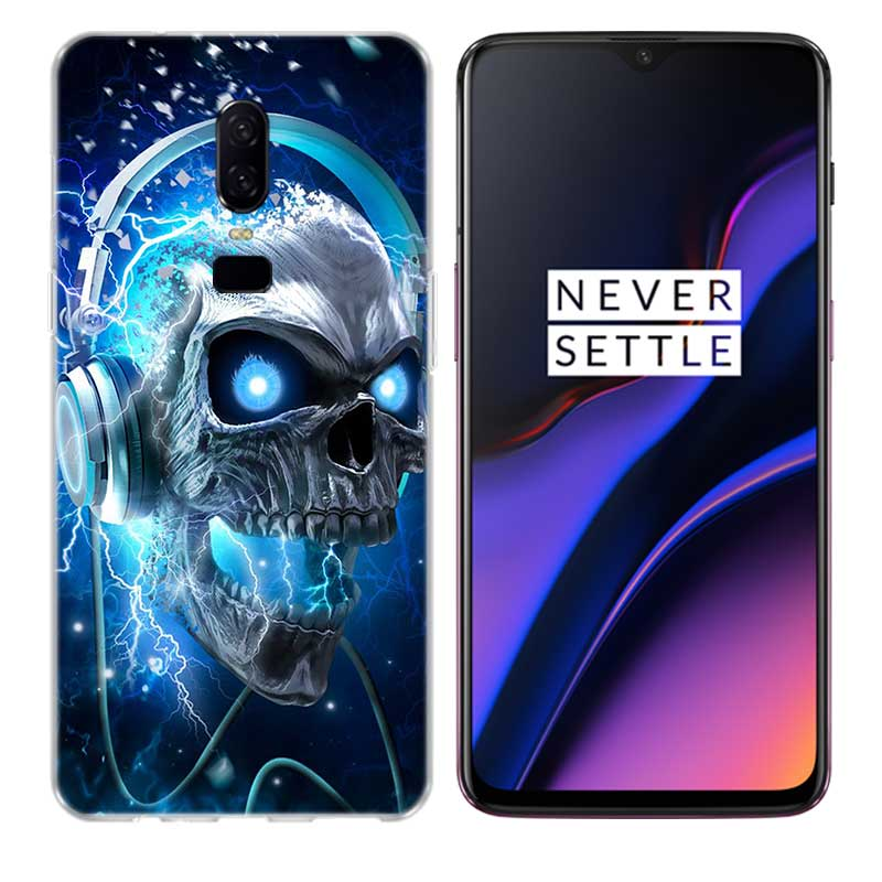 Uyellow Neon Skull Silicone Soft Case For One Plus 7 Pro 6 6T 5 5T Fashion Fundas Printed Cover Luxury Phone Coque Bone Shell in Fitted Cases from Cellphones Telecommunications