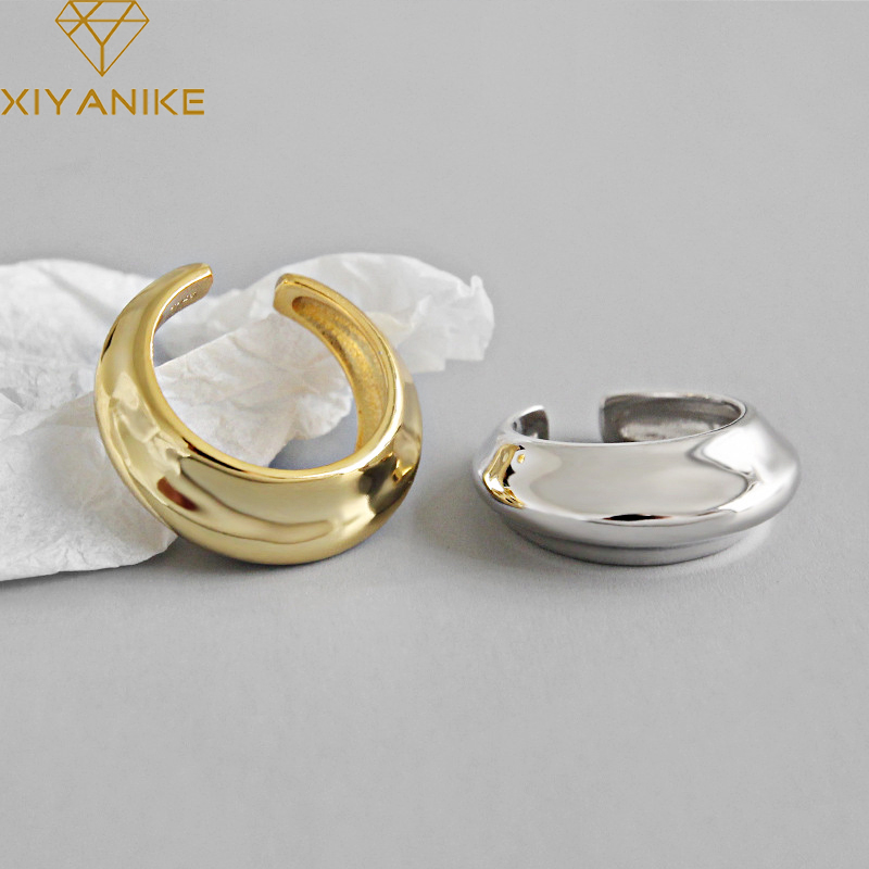 XIYANIKE 925 Sterling Silver Couple Ring Charming Simple Geometric Handmade Jewelry Party Gift For Women Size 16.9mm Adjustable