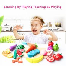 Wooden Classic Game Simulation Kitchen Series Toys Big Box Cutting Fruit Vegetable Set Toys Montessori Early Education Gifts