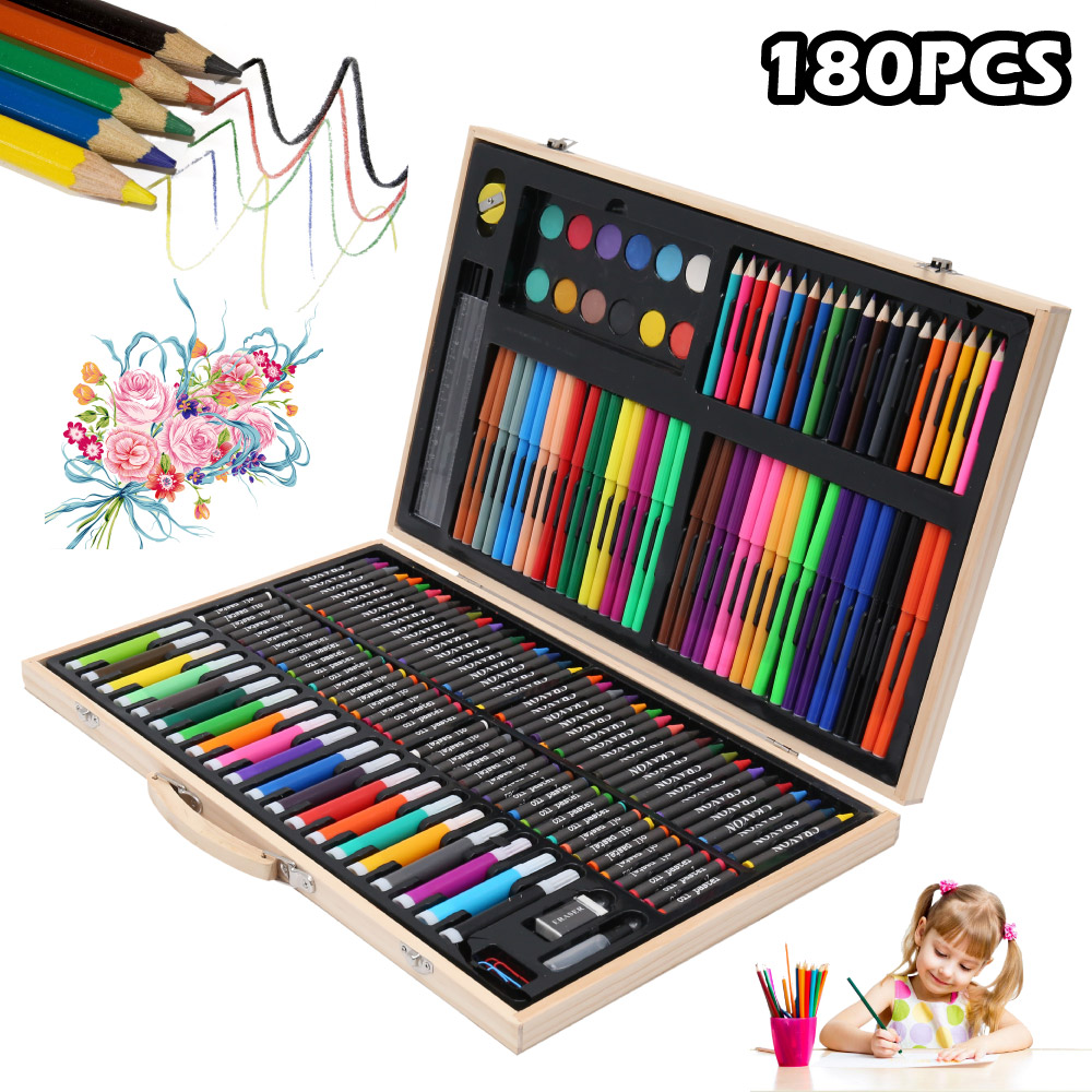 180 PCS Drawing Watercolor Art Sets Brush Pen Set Kids For Gift With Wooden Box Art Markers Office Stationery Supplies Kit