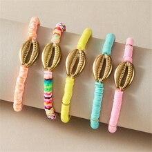 Gold shell bracelet  friendship bracelets for women boho jewelry bohemian handmade pink white gift wholesale