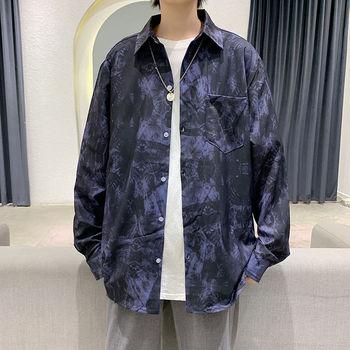 Autumn Tie-dye Shirt Men's Fashion Retro Casual Shirt Men Streetwear Loose Korean Long-sleeved Shirts Mens Dress Shirt M-3XL недорого