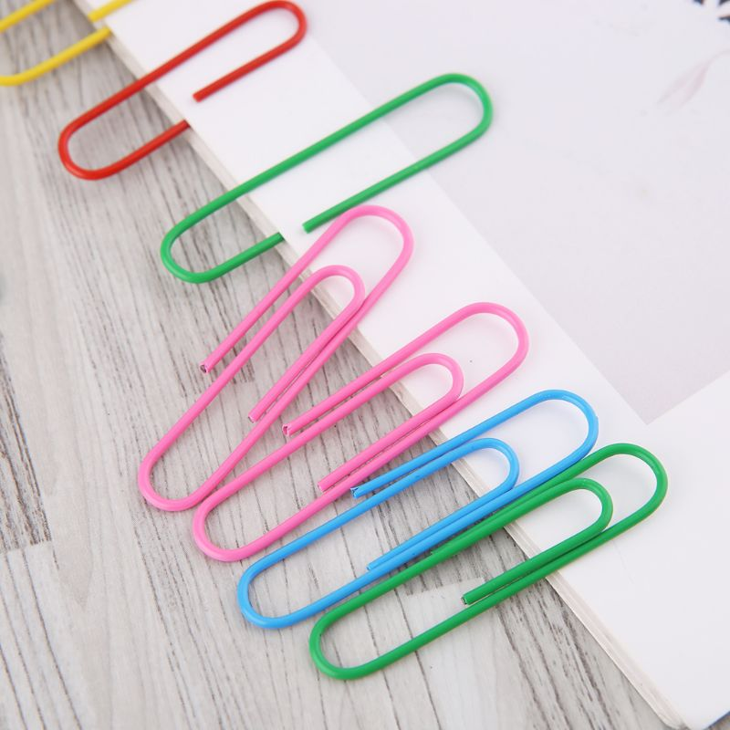 300Pcs 50mm/2.0in Paper Clip With 6-Grid Storage Case Bright Colors Photo Clip Bookmark DIY Handmade Decor School Stationery