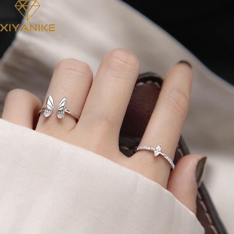 XIYANIKE 925 argent Sterling coréen blanc trois dimensions papillon Zircon Double anneau ensemble Unique conception insecte combinaison