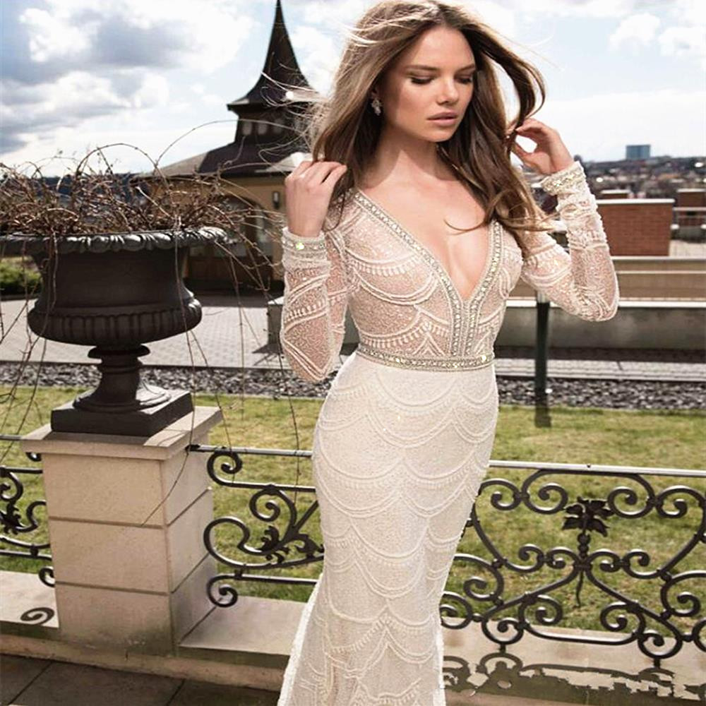 Deep V-Neck Black Lace Wedding Dresses 2020 Long Sleeves White Mermaid Bridal Gowns High-quality Embroidery Crystal Beading