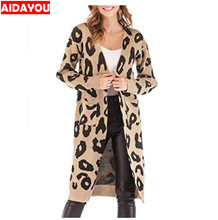 купить Women Long Cardigan Leopard Knit Long  Open Front Casual Print Knitted Maxi Sweater Coat Outwear with Pockets ouc587 дешево