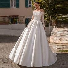 Verngo A line Wedding Dress Boho Lace Appliques Long Sleeves Elegant Bride Stain Gowns Vestidos De Novia