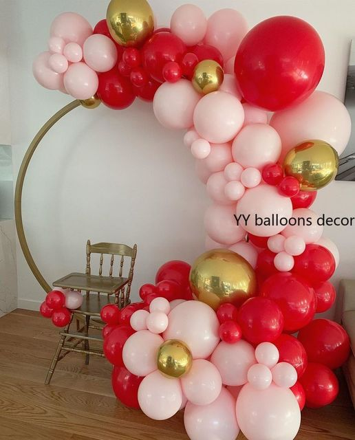 110pcs Baby 1th Happy Birthday Backdrop Party Decoration Balloon Supplies Peach Red Gold Latex Balloons Garland Arch Bay Shower