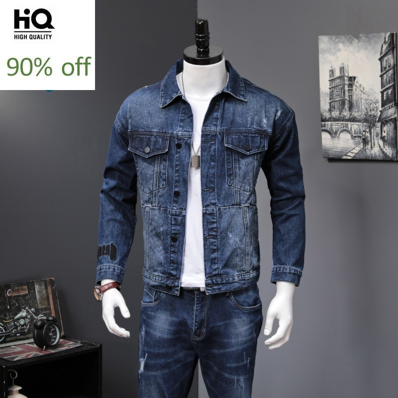 Denim 2 Piece Sets Men 2020 New Autumn Fashion Korean Slim Fit Denim Jackets And Jeans Casual Two Piece Sets Brand Clothes Suits
