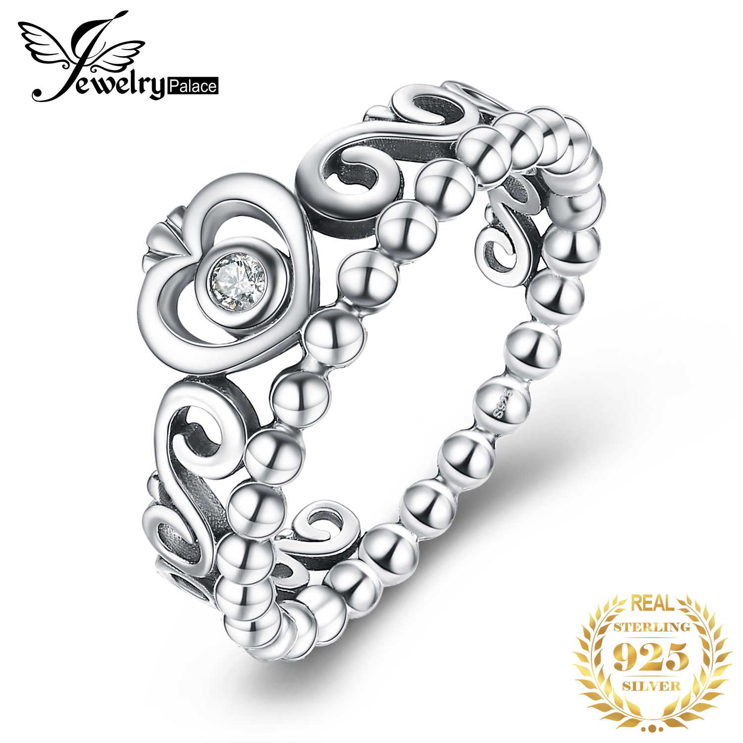JewelryPalace Vintage Princess Crown CZ Ring 925 Sterling Silver Rings for Women Stackable Rings Silver 925 Jewelry Fine Jewelry(China)
