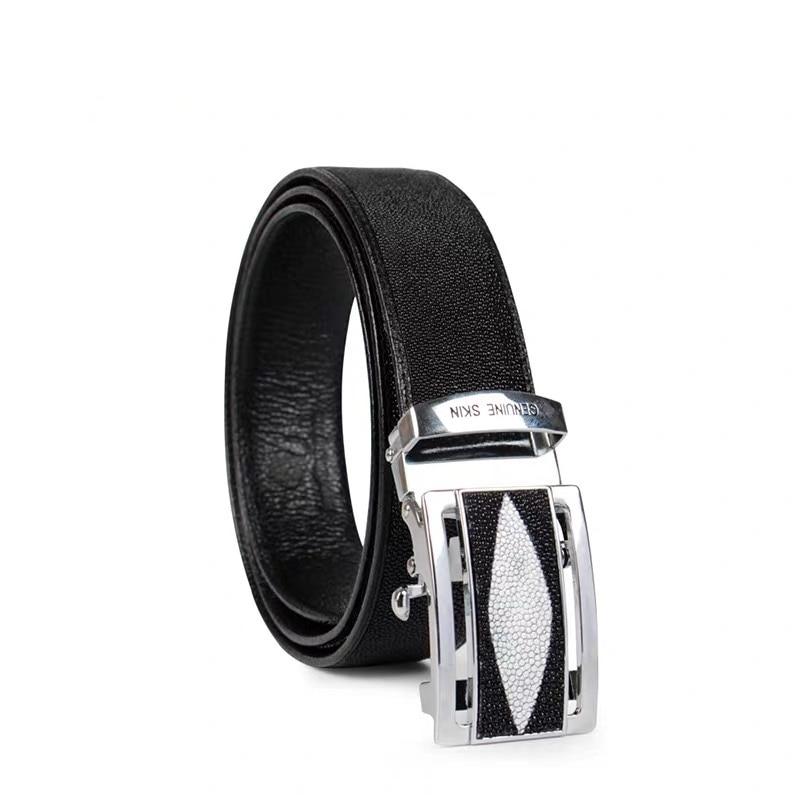 Classical Black White Designer Thailand Genuine Stingray Skin Male Waist Strap Exotic Leather Men Belt Automatic Buckle Man Belt