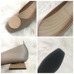 Image 5 - DONLEE QUEEN النساء أحذية مسطحة منخفضة خشبية منخفضة الكعب الباليه ساحة تو الضحلة مشبك ماركة أحذية الانزلاق على المتسكعون zapatos de mujer