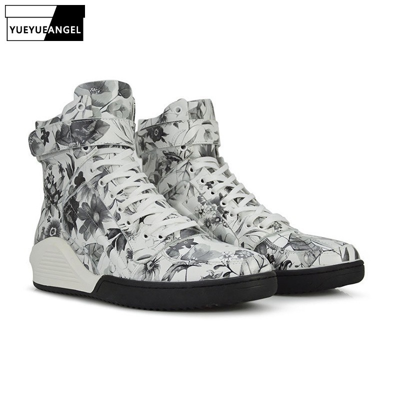 Autumn New Arrival Men Shoes Lace Up Comfortable Breathable For Men Genuine Leather Boots Punk Print Floral Embellished White