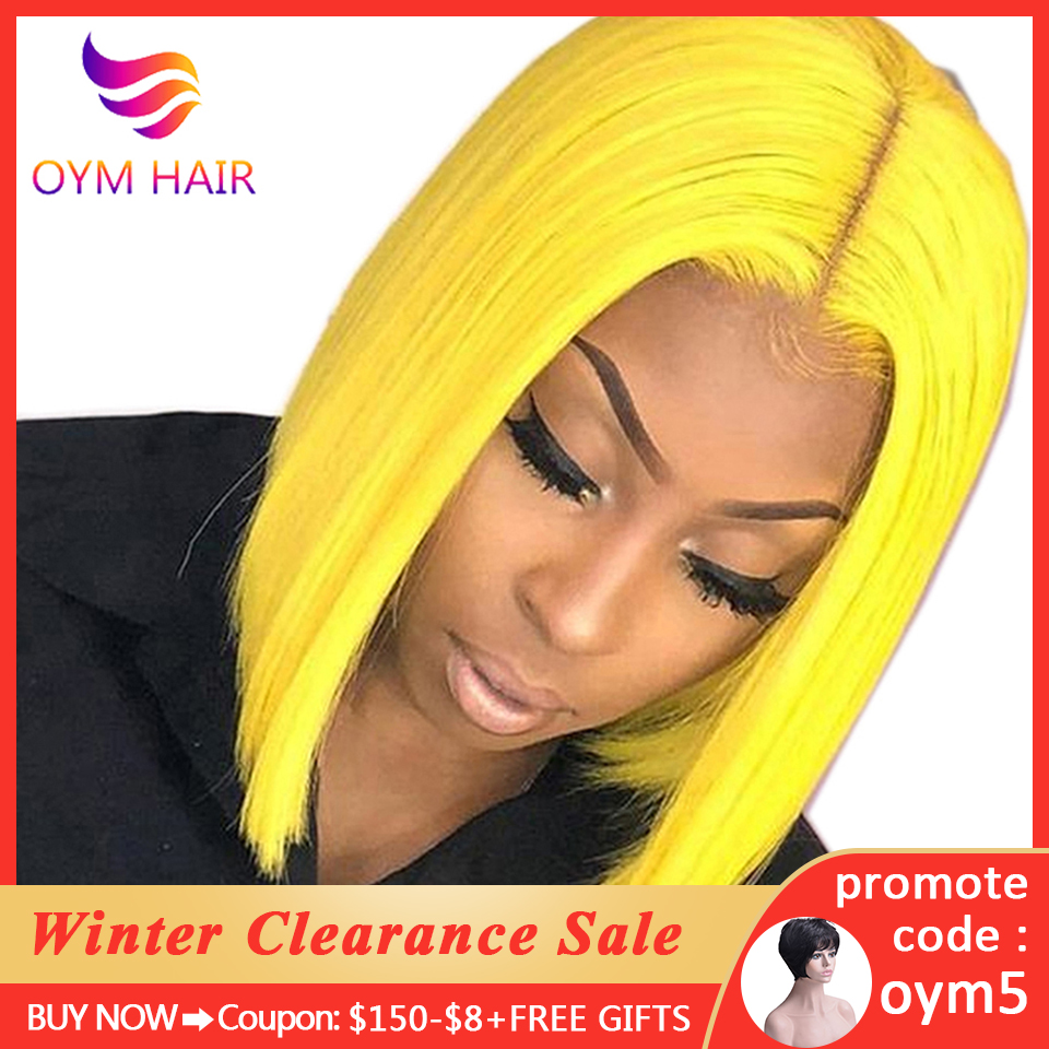 OYM HAIR Pink Bob Lace Front Wigs Human Hair 13X4 Pre Plucked 613 Blonde Blue Red Grey 150% Short Bob Wigs For Black Women Remy