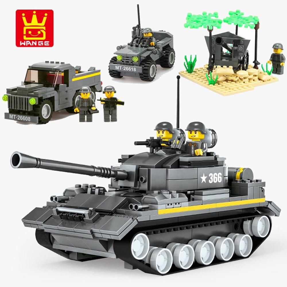 Wange 360PCS Building Blocks Military Tank Truck Blocks Compatible Legoing Educational Brick Truck Vehicle Toys Children Gift