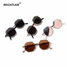 New Polygonal Men Sunglasses Women Retro Round Metal Sunglasses Brand Designer H