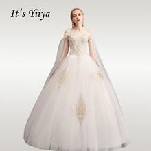 It's YiiYa Wedding Dresses Boat Neck Gold Embroidery Wedding Dress Long Off Shoulder Plus Size Elegant Vestido De Novia 2020 D28