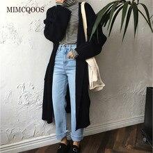Cardigan Long avec poches et manches longues pour femme, élégant, coréen, haute couture, Chic, Vintage, manteau décontracté, nouvelle collection automne hiver 2020