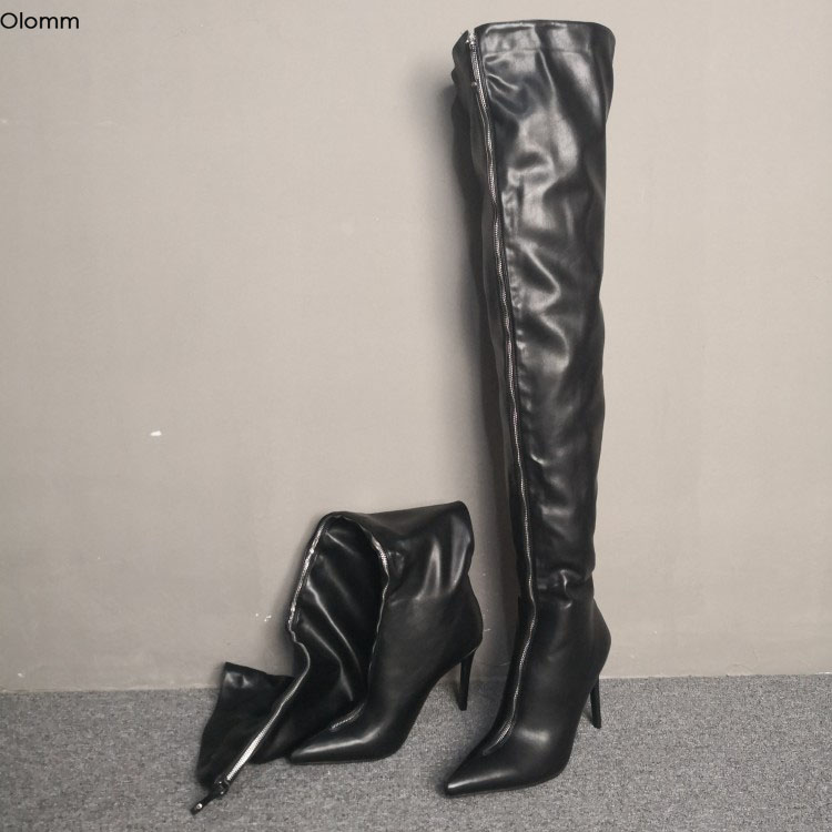 Olomm Hot Women Thigh High Boots Sexy Stiletto High Heels Boots Nice Pointed Toe Gorgeous Black Shoes Women Plus US Size 5-15